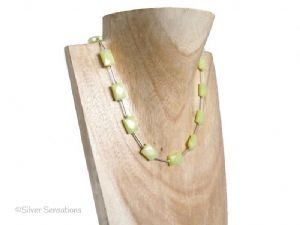 Lemon Yellow Olive Jade Faceted Oblongs & Sterling Silver Tubes Necklace